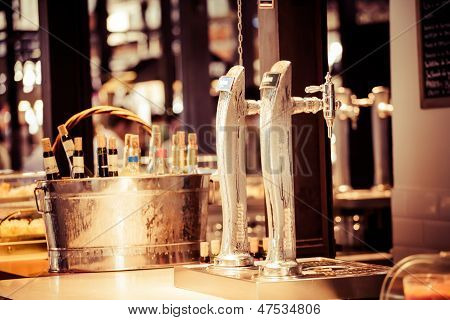 Wine Bar Tasting Set Up Tray Decoration Bottles In Restaurant