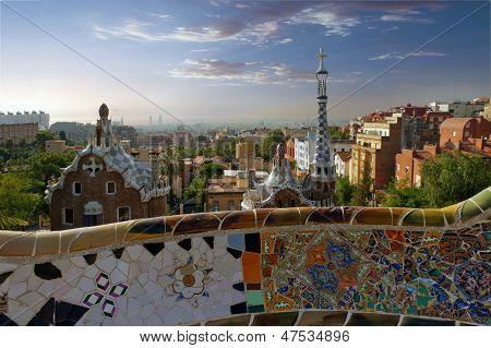 Gaudi Parc Guell. Barcelona Landmark, Spain.