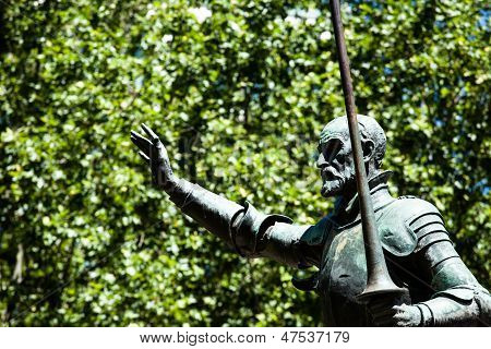 Madrid, Spain - Monuments At Plaza De Espana. Famous Fictional Knight, Don Quixote And Sancho Pansa