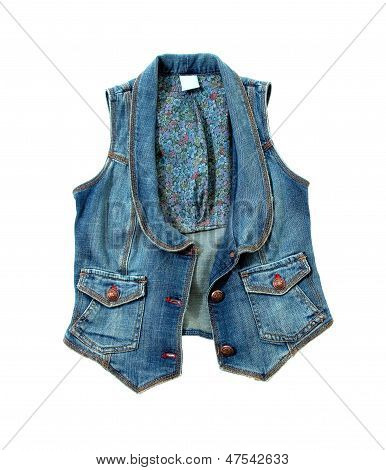Blue Denim Vest With Flowers Lining And Bronze Ornated Buttons