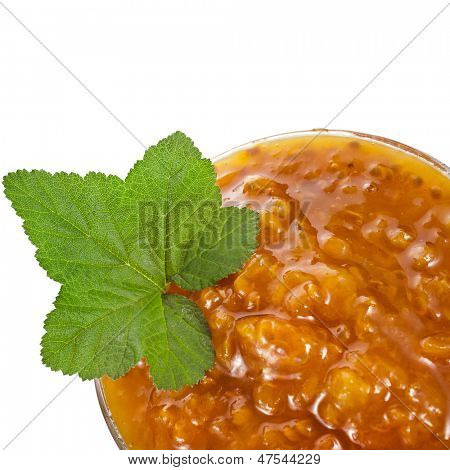 cloudberry jam close up macro shot isolated on white background