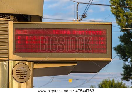 Illuminated Indicator Board Of Waiting Time Of Trams In Strasbourg - Alsace, France