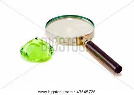 Green Diamond Crystall With Magnifier