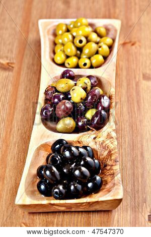 Variety Of Green, Black And Mixed Marinated Olives