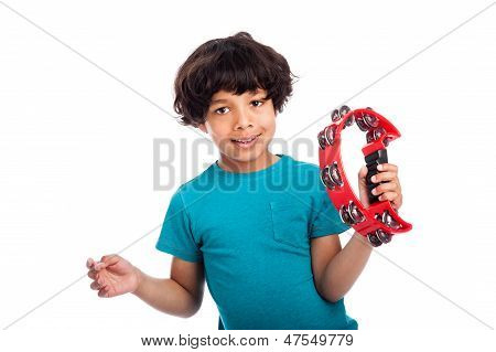 Cute Mixed Race Kid With Tambourine.