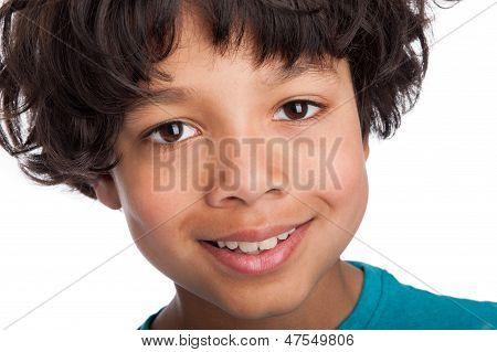 Cute Mixed Race Boy Close Up.