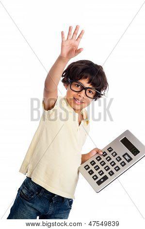 Cute Mixed Race Boy With Calculator.