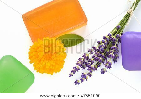 Handmade Glycerin Soaps With Flowers.