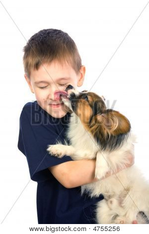 Puppy Licking Child Face