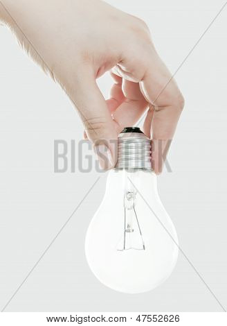 Light Bulb In Hand, Isolated On White