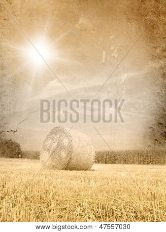 Vintage autumn landscape - grunge fall background