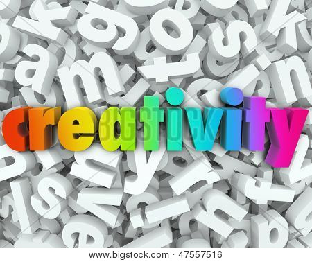 The word Creativity in colorful 3d letters on a background of white letters to illustrate creative thinking, brainstorming and imagination to solve a problem or be innovative