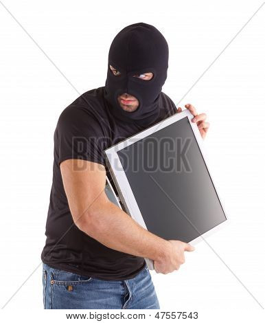 Criminal With Balaclava And Monitor