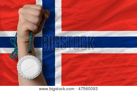 Silver Medal For Sport And  National Flag Of Norway