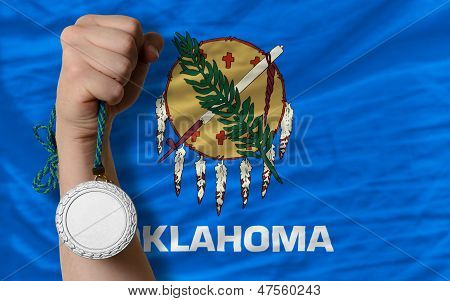 Silver Medal For Sport And  Flag Of American State Of Oklahoma
