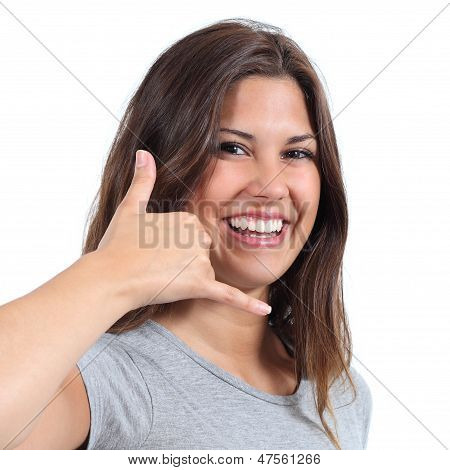 Attractive Teenager Girl Making Call Me Gesture