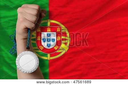 Silver Medal For Sport And  National Flag Of Portugal