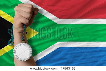 Silver Medal For Sport And  National Flag Of South Africa