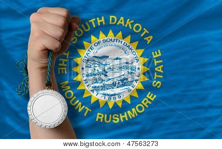 Silver Medal For Sport And  National Flag Of South Dakota