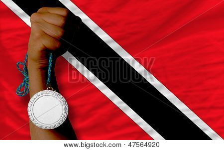 Silver Medal For Sport And  National Flag Of Trinidad Tobago