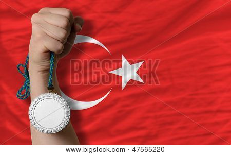 Silver Medal For Sport And  National Flag Of Turkey