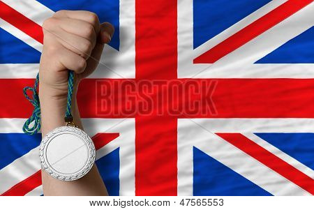 Silver Medal For Sport And  National Flag Of United Kingdom