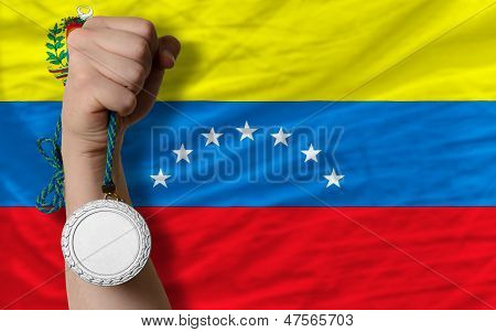Silver Medal For Sport And  National Flag Of Venezuela