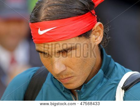 BARCELONA - APRIL, 24: Spanish tennis player Rafa Nadal before a match of Barcelona tennis tournament Conde de Godo on April 24, 2013 in Barcelona