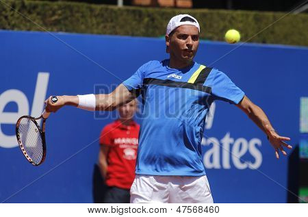 BARCELONA - APRIL, 24: Spanish tennis player Albert Monta�±es during  a match of Barcelona tennis tournament Conde de Godo on April 24, 2013 in Barcelona