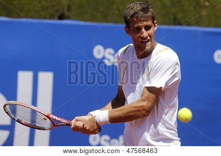 BARCELONA - APRIL, 24: Slovak tennis player Martin Klizan during a match of Barcelona tennis tournament Conde de Godo on April 24, 2013 in Barcelona