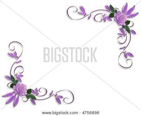 Roses Corner Border Element Lavender