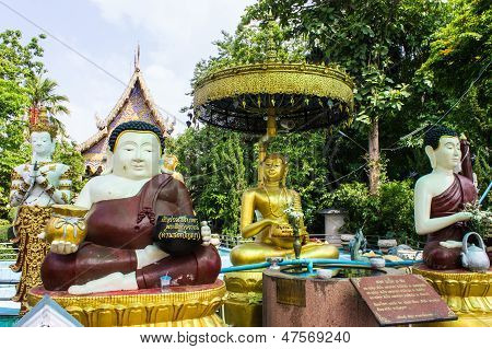 Katyayana And Shin Upagutta Statue In Wat Sri Don Moon , Chiangmai Thailand