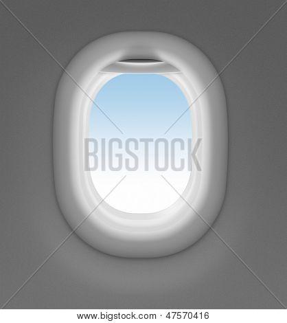 ventana de jet con cielo detrás