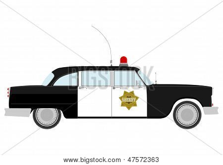 Silhouette Of Vintage Police Car.