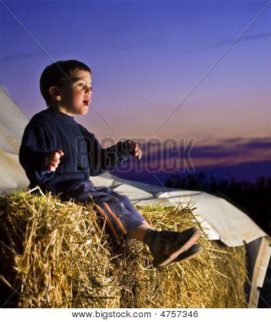 Boy On Straw