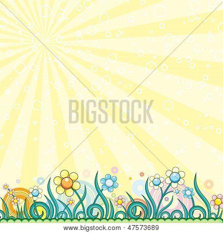 Spring. Cartoon Landscape