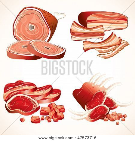 Meat Set. Ham,Gammon, Bacon, Ribs, Steaks Icons
