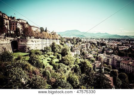 Aerial View In Bergamo, Lombardy, Italy