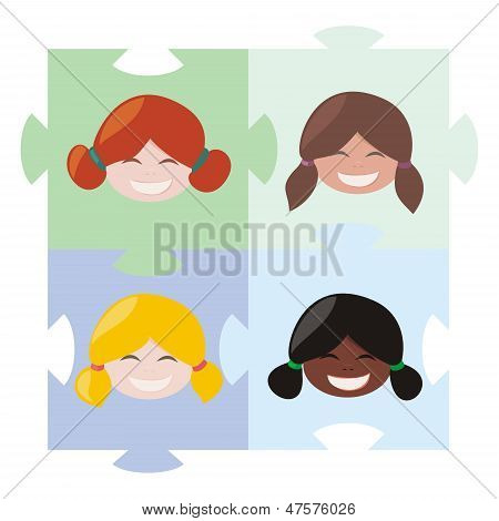 Happy multicultural girls matching on the puzzle vector illustration. Teamwork cooperation symbol