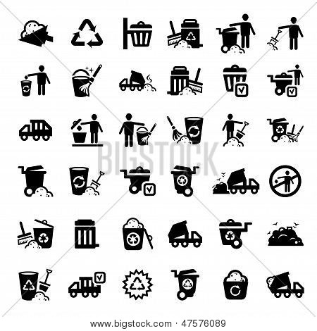 big garbage icons set