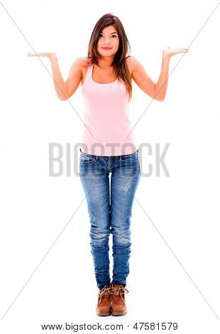 Doubtful woman making a clueless expression - isolated over white