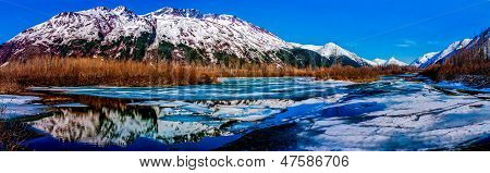 Colorful Wide Panorama of Alaskan Mountains Reflected in Frozen Lake