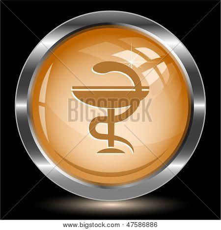 Pharma symbol. Internet button. Vector illustration.