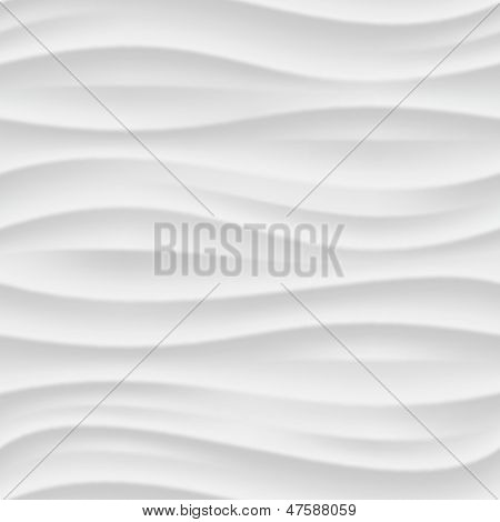 White seamless texture. Wavy background. Interior wall decoration. 3D Vector interior wall panel pattern.