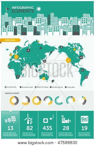 city infographics - with icons charts and design elements
