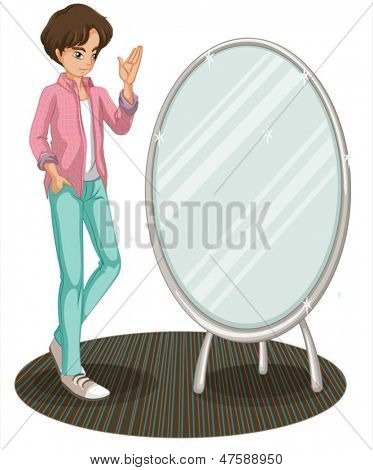 Illustration of a sparkling mirror beside a fashionable young man on a white background