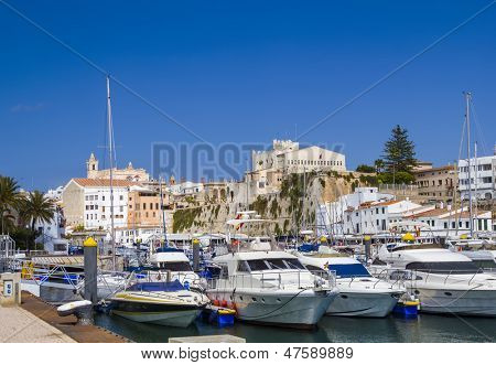Old Ciutadella town harbour in sunny day. Menorca, Spain.
