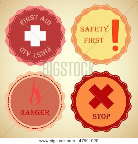 Retro Badge Collection Of Warning