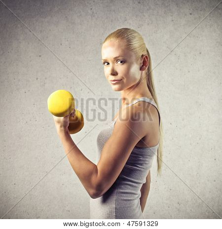 beautiful young woman doing sports