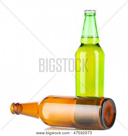 Bier in bottles isolated on white